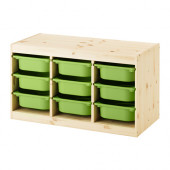 TROFAST Storage combination with boxes, pine, green - 591.029.97