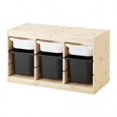 TROFAST Storage combination with boxes, pine white, black - 891.026.32