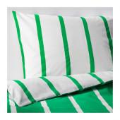 TUVBRÄCKA Duvet cover and pillowcase(s), green, white - 702.964.42