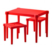 UTTER Children's table with 2 stools, red indoor/outdoor red - 502.023.88