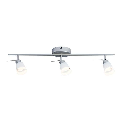 BASISK Ceiling track, 3 spotlights, nickel plated, white - 902.625.87
