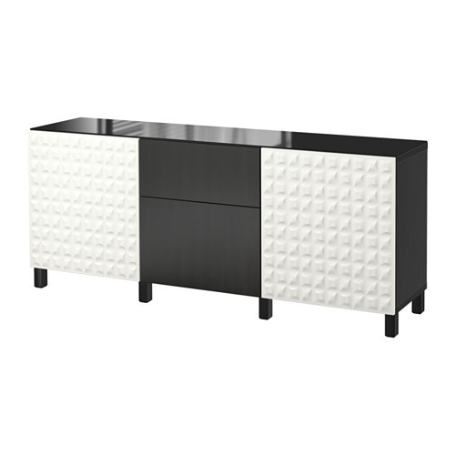 BESTÅ Storage combination w doors/drawers, Djupviken white, Lappviken black-brown - 991.033.39