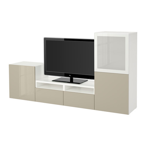 BESTÅ TV storage combination/glass doors, white, Selsviken high gloss/beige frosted glass - 290.635.20