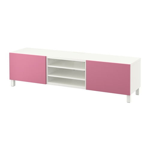 BESTÅ TV unit with drawers, white, Lappviken pink - 390.637.89