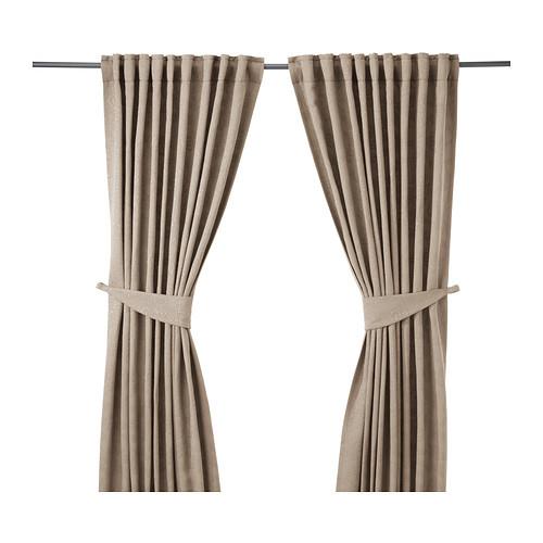 BLEKVIVA Curtains with tie-backs, 1 pair, beige - 902.629.31