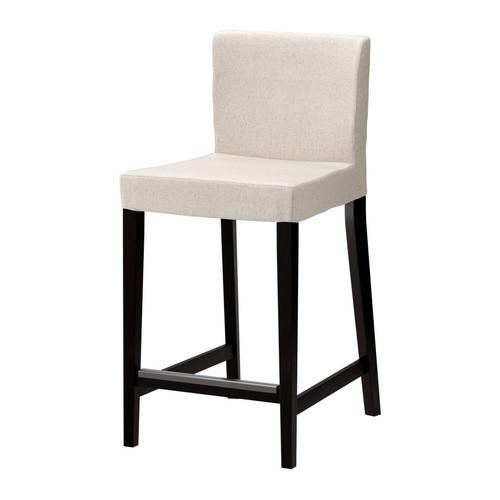 HENRIKSDAL Bar stool with backrest, brown-black, Linneryd natural - 198.745.77