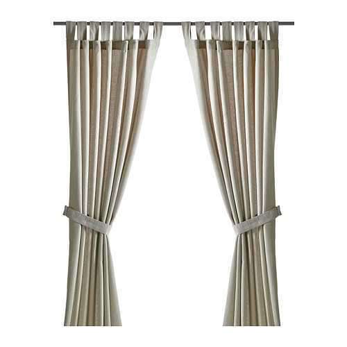 LENDA Curtains with tie-backs, 1 pair, light beige - 300.901.17