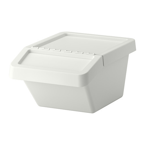 SORTERA Recycling bin with lid, white - 102.558.97