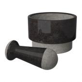 ÄDELSTEN Mortar and pestel, marble black - 602.012.51