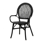 ÄLMSTA Chair, rattan, black - 802.340.19