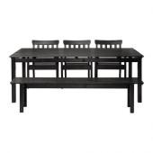 ÄNGSÖ Table, 3 armchairs + bench, outdoor, black-brown black stained black-brown stained - 799.292.61