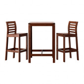 ÄPPLARÖ Bar table and 2 bar stools, brown stained brown - 990.540.13