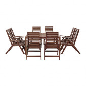 ÄPPLARÖ Table+ and 8 reclining chairs, outdoor brown stained - 390.539.69