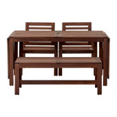 ÄPPLARÖ Table, 2 armchairs and bench, outdoor brown stained - 990.539.71