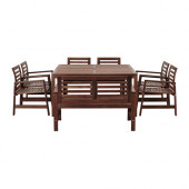 ÄPPLARÖ Table,6 armchairs+bench, outdoor, brown stained - 190.707.81