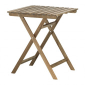 ASKHOLMEN Table, outdoor, gray-brown foldable gray-brown stained - 602.400.35