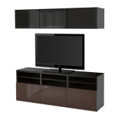 BESTÅ TV storage combination/glass doors, black-brown, Selsviken high gloss/brown smoked glass - 090.847.50