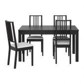 BJURSTA / BÖRJE Table and 4 chairs, brown-black, Gobo white - 898.929.31