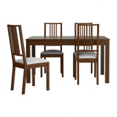 BJURSTA / BÖRJE Table and 4 chairs, brown, Gobo white - 198.980.74