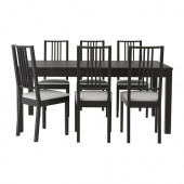 BJURSTA / BÖRJE Table and 6 chairs, brown-black, Gobo white - 499.172.31