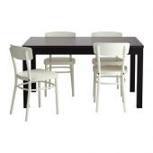 BJURSTA / IDOLF Table and 4 chairs, black-brown, white - 699.320.56