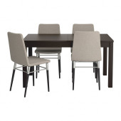 BJURSTA / PREBEN Table and 4 chairs, brown-black, Tenö light gray - 999.173.18