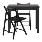 BJURSTA / TERJE Table and 2 chairs, brown-black, black - 790.106.52