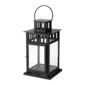 BORRBY Lantern for block candle, black indoor/outdoor black - 101.561.09