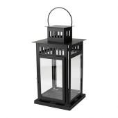 BORRBY Lantern for block candle, black indoor/outdoor black - 701.561.11