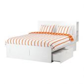 BRIMNES Bed frame with storage & headboard, white, Luröy - 591.296.09