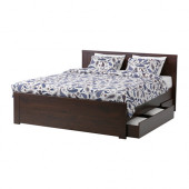 BRUSALI Bed frame with 4 storage boxes, brown, Luröy - 990.075.83