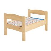 DUKTIG Doll bed with bedlinen set, pine, multicolor - 101.016.64