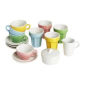 DUKTIG 10-piece coffee/tea set, multicolor - 001.301.48