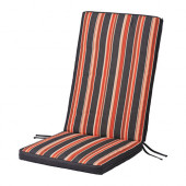 EKERÖN Seat/back pad, outdoor, black, stripe - 402.852.99