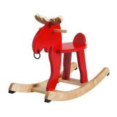 EKORRE Rocking moose, red, rubberwood - 500.607.13