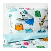FLICKÖGA Duvet cover and pillowcase(s), white, multicolor - 602.989.17