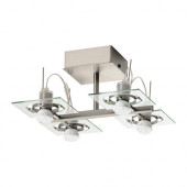 FUGA Ceiling spotlight with 4 spots, chrome plated, clear glass - 702.626.25