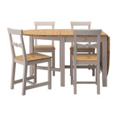 GAMLEBY Table and 4 chairs, light antique stain, gray - 490.072.17