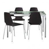 GLIVARP / VILMAR Table and 4 chairs, clear, brown-black - 299.321.43