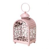 GOTTGÖRA Lantern for candle in metal cup, light pink indoor/outdoor light pink - 602.361.56