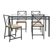 GRANÅS Table and 4 chairs, black, glass - 702.720.59