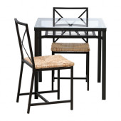 GRANÅS Table and 2 chairs, black, glass - 102.720.57