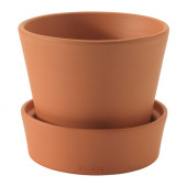 INGEFÄRA Plant pot with saucer, outdoor indoor/outdoor, terracotta - 902.580.43