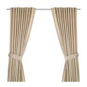 INGERT Curtains with tie-backs, 1 pair, beige - 302.578.57