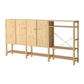 IVAR 3 sections/shelves/cabinet, pine - 090.007.36