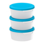 JÄMKA Food container, transparent white, blue - 501.660.74