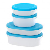 JÄMKA Food container with lid, set of 4, transparent white, blue - 701.873.63