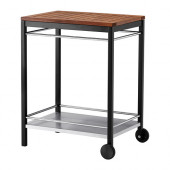KLASEN Serving cart, outdoor, black stainless steel, brown stained - 290.334.15