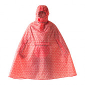 KNALLA Rain poncho, red, white - 302.834.27