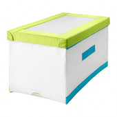 KUSINER Box with lid, white/green, turquoise - 503.069.32
